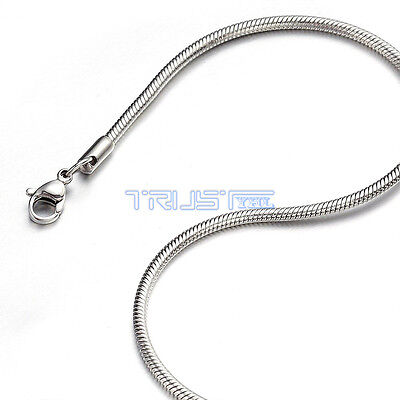 """1.5 mm 16"""" 16 inch Silver Stainless Steel Round Snake Necklace Chain For Women"""