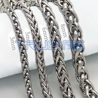 Mens Womens Stainless Steel Silver Curb Link Chain Necklace 20-30inches 3/5/6/8m