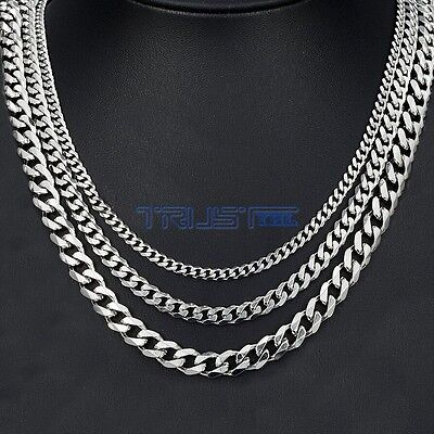 Mens Womens Stainless Steel Silver Curb Link Chain Necklace 18-30inches 3.5/5/7m