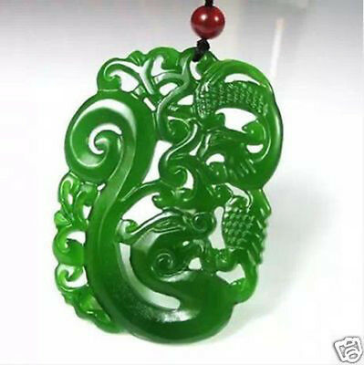 Fine China hand-carved Green jade dragon Phoenix Pendant Necklace Amulet
