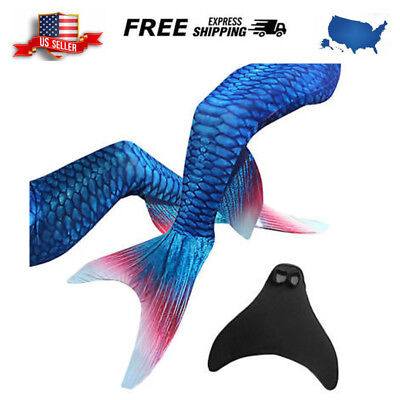 Kids Gril Adult Swimmable Fin Mermaid Tail With Monofin Swimsuit Swimmig Costume
