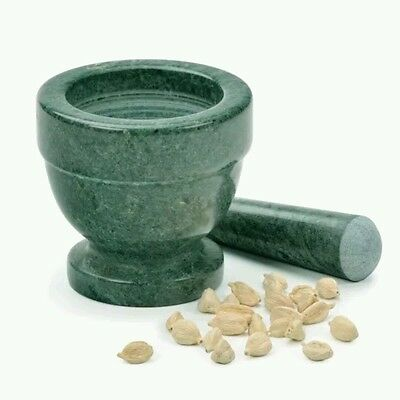 Green Marble Mortar And Pestle Crushing Food Herbs Spices Pills Coffee Grinder