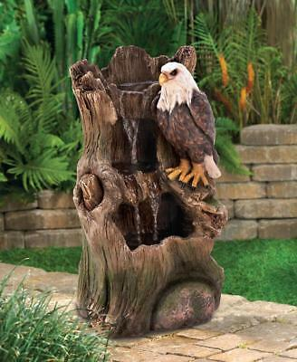 Eagle & Tree Trunk Outdoor Water Fountain For Sale With Pump, Garden Decor