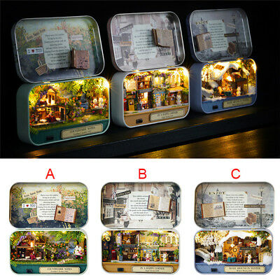 1 Set Dollhouse Miniature Kit Box Shape LED wooden Toy DIY Dolls House Room