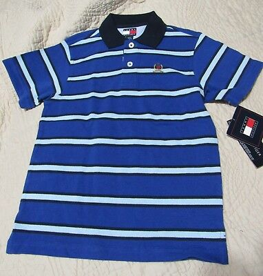 NWT Tommy Hilfiger Blue Stripe Pique Knit Short Sleeve Polo SHIRT 3T Toddler boy