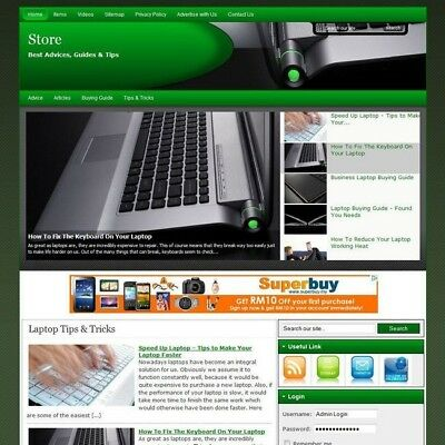 Laptop Notebook Online Business Website For Sale! Free Domain Name + Hosting Now