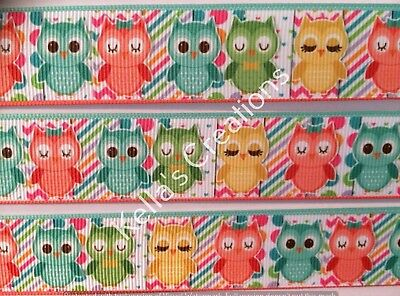 """Owls Grosgrain Ribbon 1"""" Sold by 2 M, Craft - Hair Accessories- Dummy clips"""