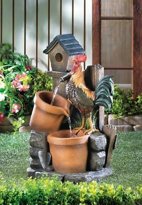 Rooster Birdhouse Planters Outdoor Water Fountain, Garden Fountain, Garden Decor