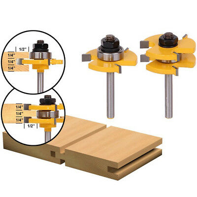 1/4Inch Matched Shank Tongue Groove Router Bit T Shape Woodwork Cutter Tool