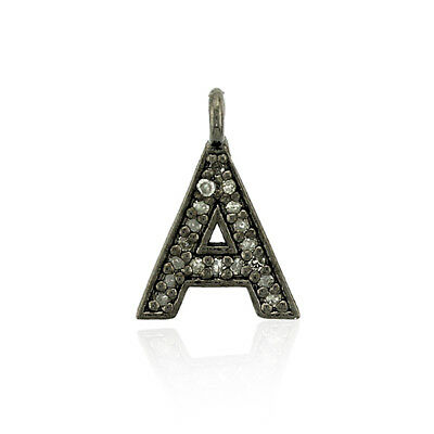 """0.11ct Pave Diamond .925 Sterling Silver Initial """"A"""" Charm Pendant Jewelry"""