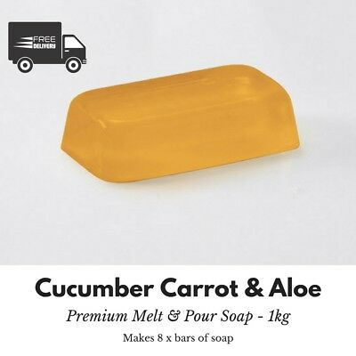 1kg - Crystal CCA Cucumber Carrot and Aloe Melt and Pour Soap Base - Free Shi...