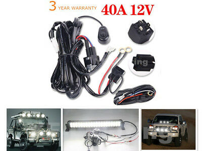 40A 12V Power Switch&Relay Wiring Harness Kit for 10W-300W LED Light Bar Offroad
