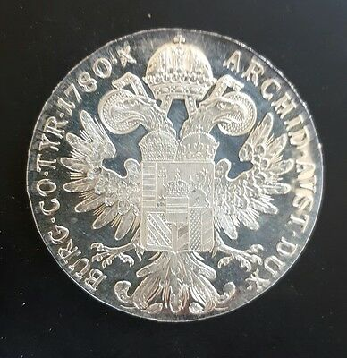 1780 Proof Maria Theresa Austria 1 Thaler Restrike (Silver Proof Coin)..