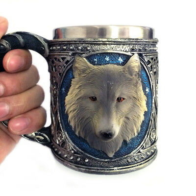 Game of Thrones 3D Cup Wolf Head House Stark Drinking Mugs Stainless Steel Decor