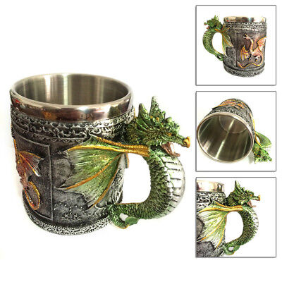 Game of Thrones 3D Dragon Mug Drinking Cup Stainless Steel Halloween Decor Gift
