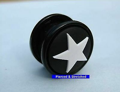 Ear Plug 14mm Ear Plug with BLACK and WHITE Star - Tunnels & Plugs