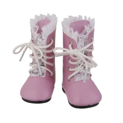 Handmade Pink Lace Boots Lace Up Shoe Fit 46cm American Girl Doll Party Dress