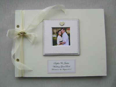 Personalised Linen Wedding Guest Book A4 Size With Box.any Message.photo Insert