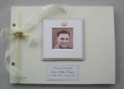 Personalised Memorial Guest Book A4 Size With Box.any Message.photo Insert