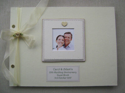 Personalised Linen 25Th Anniversary Guest Book A4 Size With Box..photo Insert