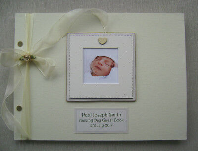 Personalised Linen Naming Day Guest Book A4 Size With Box..photo Insert