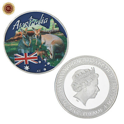 WR Tuvalu $1 Dollar Australia Kangaroo Colored Silver Coin Christmas Gifts Cheap