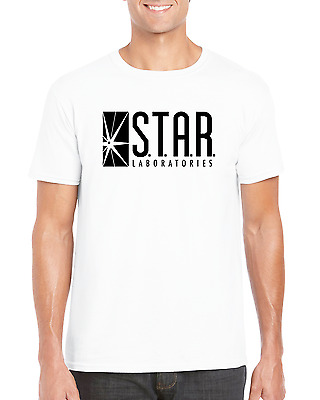 Star Labs The Flash Arrow Barry Allen Speedster Comic DC Inspired White T-shirt