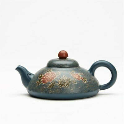 Chinese Floral Yixing Teapot Signed Xiaoqin Shi Dated 2000