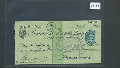 wbc. - CHEQUE - CH1351- USED -1946- BARCLAYS BANK, LLANWRTYD WELLS