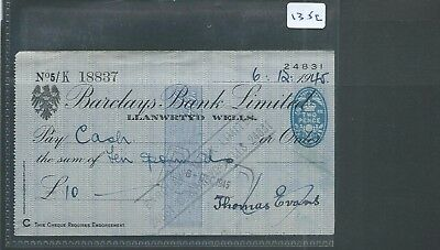 wbc. - CHEQUE - CH1352- USED -1945- BARCLAYS BANK, LLANWRTYD WELLS