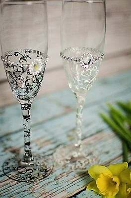 Mr & Mrs Hand Painted Wedding Bride and Groom champagne flutes glasses