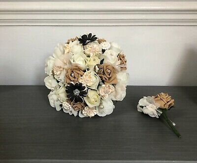 Wedding Flowers Ivory Nude Beige Roses Buttons  Brides Bouquet Groom Buttonhole