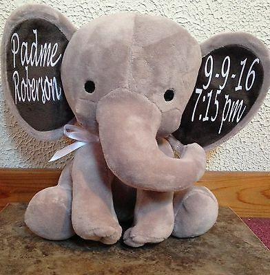 Personalized Decorative Birth Announcement Grey Elephant Stuffed Animal Plush