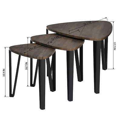 Coffee Table Set Nest of 3 Tables w Solid Metal Legs Modern Sturdy Robust