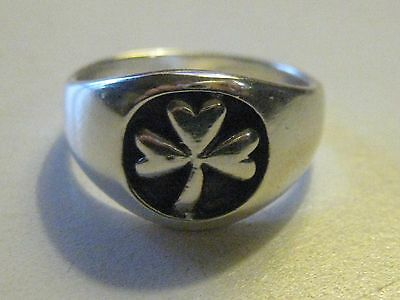 925 Sterling Silver Black Ireland Irish Clover Ring Size 5-6 Rings