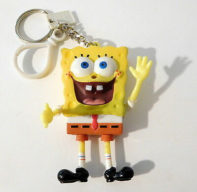 SpongeBob Squarepants 2000 VIACOM BASIC FUN Keychain Key Ring, Zipper Pull, Clip