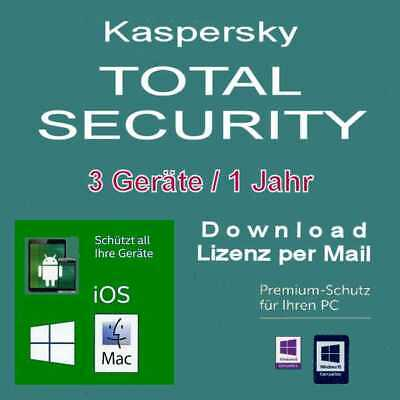 Kaspersky Total Security 3 Geräte - 1-Jahr  - 2018 / 2019 PC /MAC/Android  / KEY