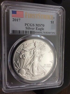 2017 American Silver Eagle PCGS MS70 First Strike blue flag label