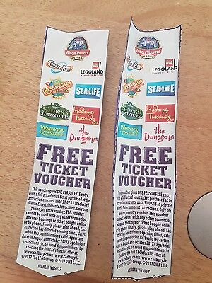 2x 2 for 1 merlin vouchers expire 31.07.18 - thorpe park alton towers tussauds