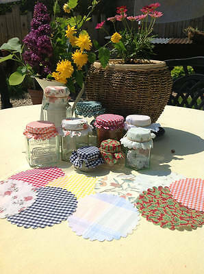 24 Jam Jar Covers Mixed Selection With Free Bands,Labels,Gift Tags &Jute String.