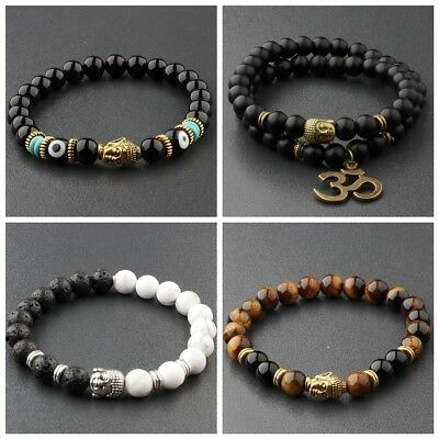 Fashion Women 8MM White Turquoise Lava Beads Buddha Head Men Charm Bracelets