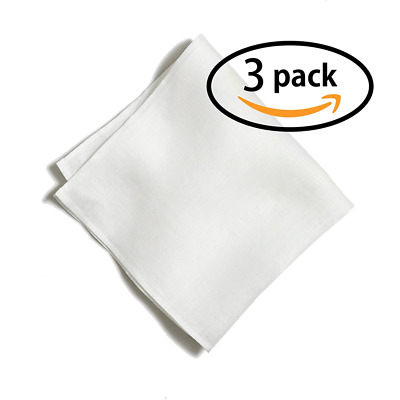 100% White Linen Handmade Pocket Square Handkerchief in Perfect Suit Size (3-PAC