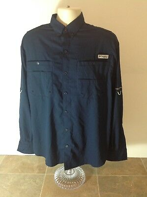 Men's Navy Blue Long Sleeve Columbia PFG Fishing Shirt Vented Medium Omni Shade