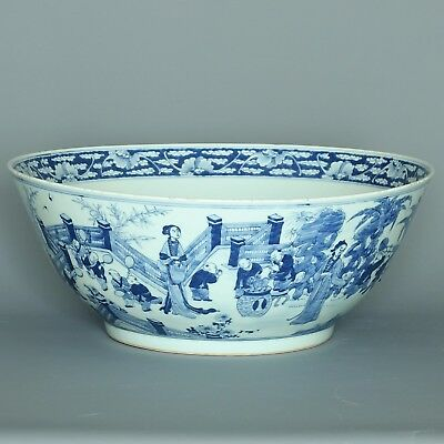 Huge blue & white figural punch bowl -  19 th century or earlier.