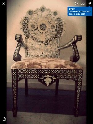 Vintage Gorgeous Inlaid Mother of Pearl Armchair