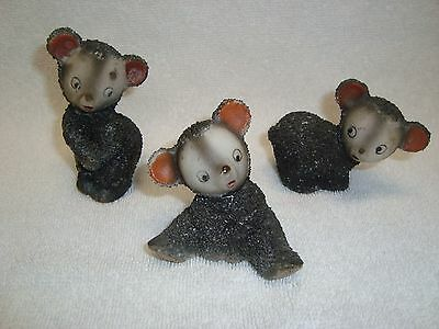 Vintage 3 Black Bears Spaghetti Pieces Sprinkles Japan