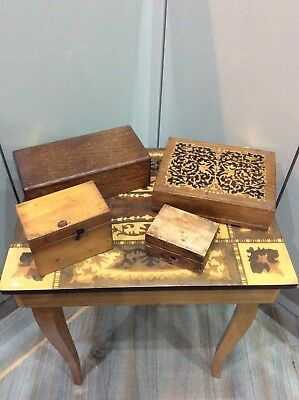 Vintage ,old Small Wooden Boxes X 4 , Different Sizes And Wood