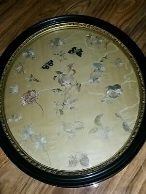 late Qing silk embroidery of flowers and butterflies framed under glass