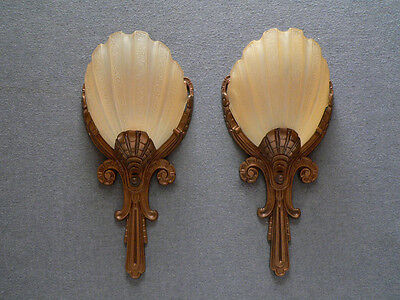 Antique pair of slip shade shades Art Deco sconces