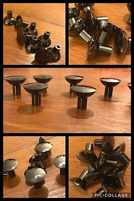 6 KNOBS PULLS Black Nickel Tone Shiny Cabinet Drawer Heavy Modern Vintage